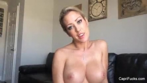 Sweet blonde with glasses, Capri Cavanni likes to passionately suck her roommate's dick, in the bed